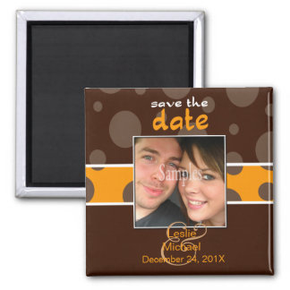 Save/Date Photo magnets/chocolate bubbles/orange Square Magnet