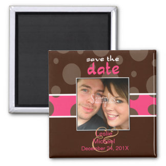 Save/Date Photo magnets/chocolate bubbles/pink Magnet