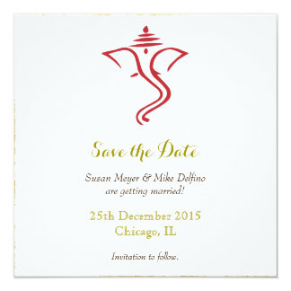 Save date wedding red gold ganpati ganesh hindu card