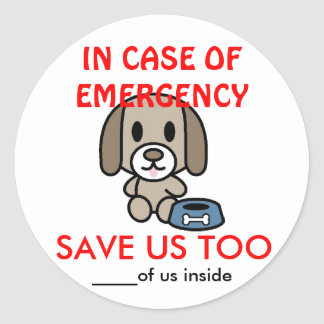 Save Dog Home Emergency Classic Round Sticker