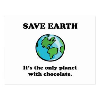 Save Earth Chocolate Postcard