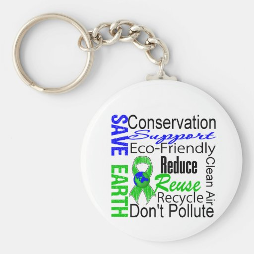 Save Earth Environment Awareness Collage Keychains