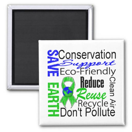 Save Earth Environment Awareness Collage Refrigerator Magnets