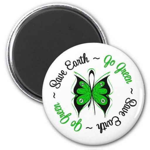 Save Earth Go Green Butterfly Refrigerator Magnets