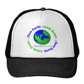 Save Earth Go Green Globe Hats