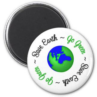 Save Earth Go Green Globe Fridge Magnets