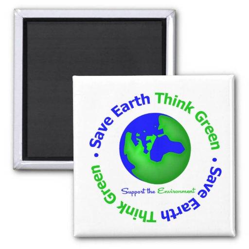 Save Earth Go Green Globe Refrigerator Magnets