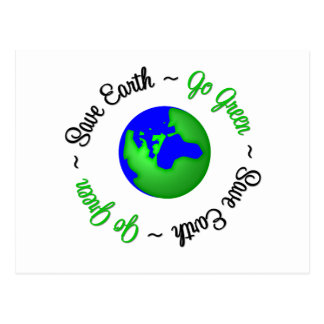 Save Earth Go Green Globe Postcard