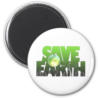Save Earth Logotext Magnet, Keychain & Button 6 Cm Round Magnet