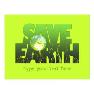 Save Earth Logotext Postcard Greeting Card