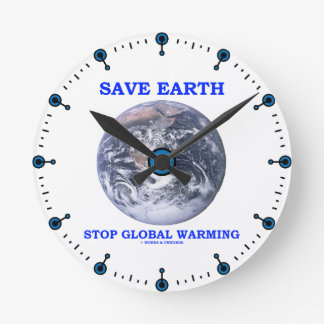 Save Earth Stop Global Warming (Blue Marble Earth) Clock