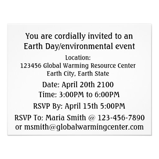 Save Earth Stop Global Warming (Blue Marble Earth) Personalized Announcement