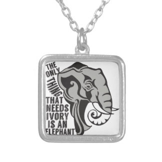 Save Elephants Silver Plated Necklace