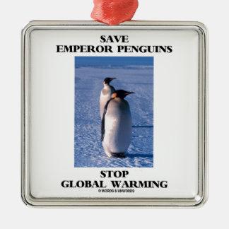 Save Emperor Penguins Stop Global Warming Christmas Ornament