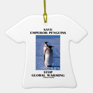 Save Emperor Penguins Stop Global Warming Double-Sided T-Shirt Ceramic Christmas Ornament