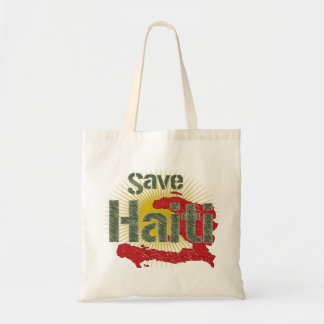 Save Haiti (Green) - Proceeds go to RED CROSS Budget Tote Bag