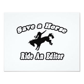 "Save Horse, Ride Editor 4.25"" X 5.5"" Invitation Card"