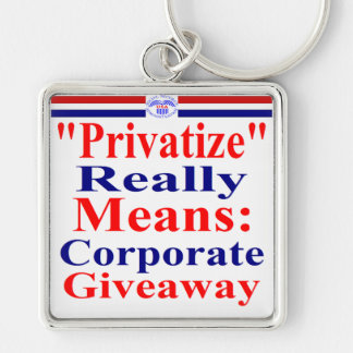 Save Medicare From Corporate Greed Silver-Colored Square Key Ring