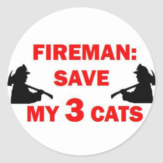 Save My 3 Cats Fireman Classic Round Sticker