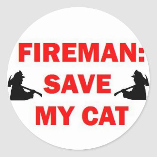 Save My Cat Fireman Classic Round Sticker