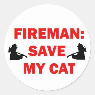 Save My Cat Fireman Classic Round Sticker