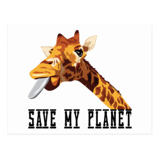 Save My Planet Giraffe Postcard