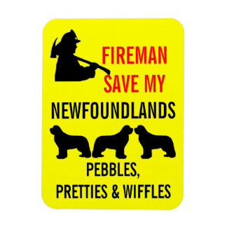 Save My THREE Newfoundlands Fire Safety Rectangular Photo Magnet