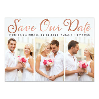 Save Our Date Rose Gold Foil Script Photo Card