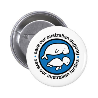 Save our dugong & turtles 6 cm round badge