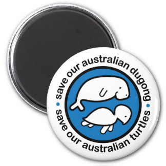 Save our dugong & turtles 6 cm round magnet