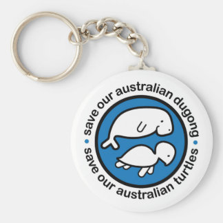 Save our dugong & turtles basic round button key ring