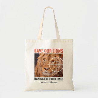 Save our lions - ban canned hunting - tote bag -