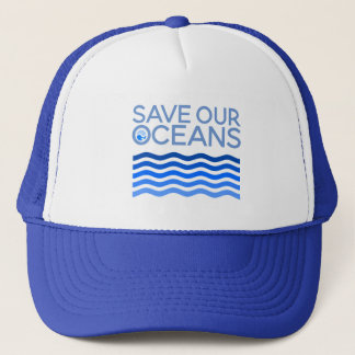 Save Our Oceans Blue Stylised Earth Waves Trucker Hat