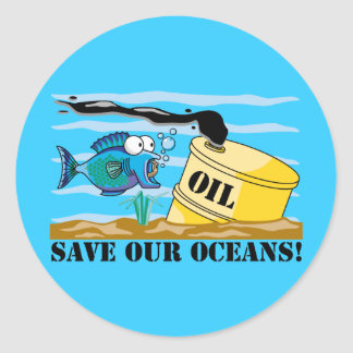 Save Our Oceans Earth Day Round Stickers