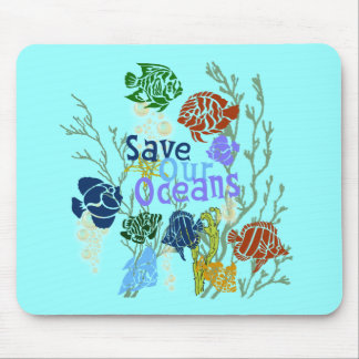 Save Our Oceans Nautical Fish Mousepad