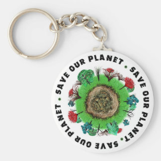 Save Our Planet Basic Round Button Key Ring