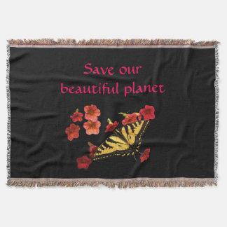Save Our Planet Butterfly on Flowers Throw Blanket