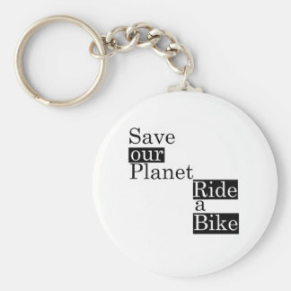 Save our planet, ride a bike basic round button key ring