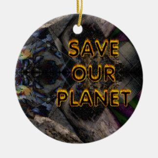 save our planet round ceramic decoration