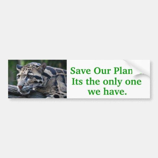 Save Our Planet series leopard. bumper sticker
