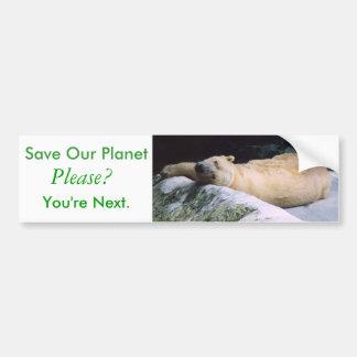 Save Our Planet series Polar Bear bumper sticker