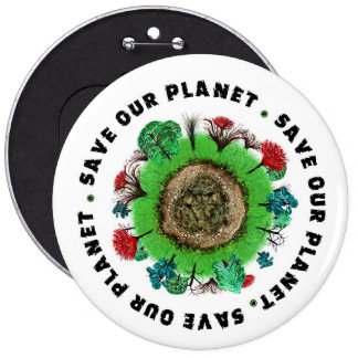 Save Our Planet Slogan and Icon 6 Cm Round Badge