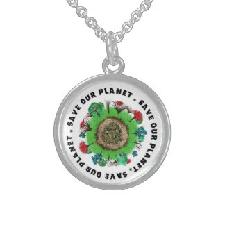 Save Our Planet slogan and Icon Sterling Silver Necklace
