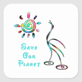 Save Our Planet Square Stickers