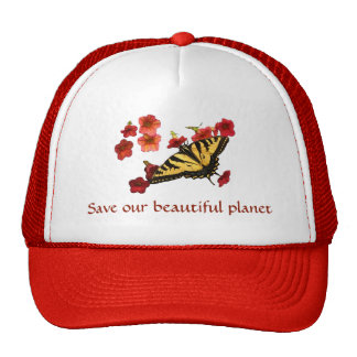 Save Our Planet Swallowtail Butterfly Flowers Hat