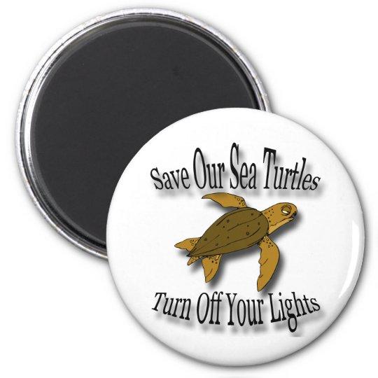 Save Our Sea Turtles black 6 Cm Round Magnet
