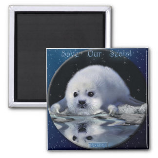 """SAVE OUR SEALS!"" Art Magnet"