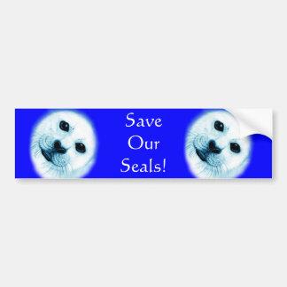 'Save our Seals' Baby Harp Seal Bumper Sticker