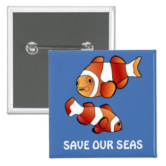 Save Our Seas Clown Fish Button Customizable