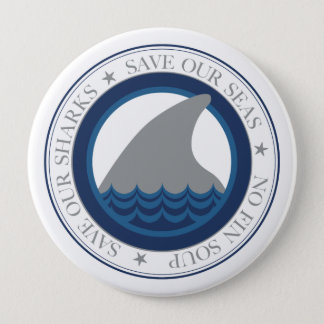 save our sharks 10 cm round badge